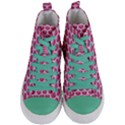 SCALES3 WHITE MARBLE & PINK DENIM Women s Mid-Top Canvas Sneakers View1