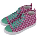 SCALES3 WHITE MARBLE & PINK DENIM Women s Mid-Top Canvas Sneakers View2