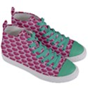 SCALES3 WHITE MARBLE & PINK DENIM Women s Mid-Top Canvas Sneakers View3