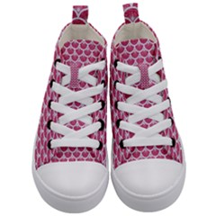 Scales3 White Marble & Pink Denim Kid s Mid Top Canvas Sneakers