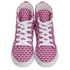 Scales3 White Marble & Pink Denim Men s Hi Top Skate Sneakers