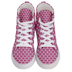 Scales3 White Marble & Pink Denim Women s Hi Top Skate Sneakers