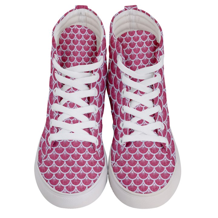 SCALES3 WHITE MARBLE & PINK DENIM Women s Hi-Top Skate Sneakers