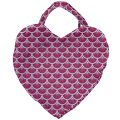 Scales3 White Marble & Pink Denim Giant Heart Shaped Tote