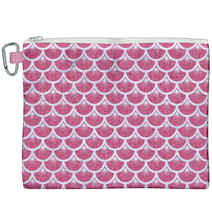 SCALES3 WHITE MARBLE & PINK DENIM Canvas Cosmetic Bag (XXXL)