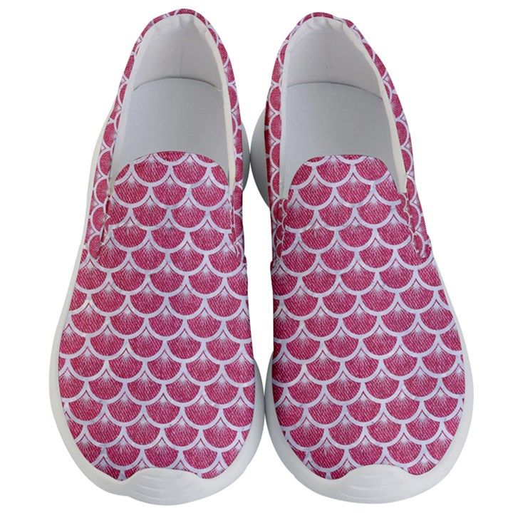 SCALES3 WHITE MARBLE & PINK DENIM Men s Lightweight Slip Ons