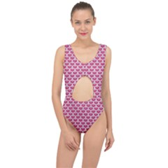 Scales3 White Marble & Pink Denim Center Cut Out Swimsuit