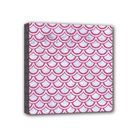 Scales2 White Marble & Pink Denim (r) Mini Canvas 4  X 4  by trendistuff