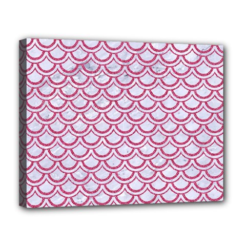 Scales2 White Marble & Pink Denim (r) Canvas 14  X 11