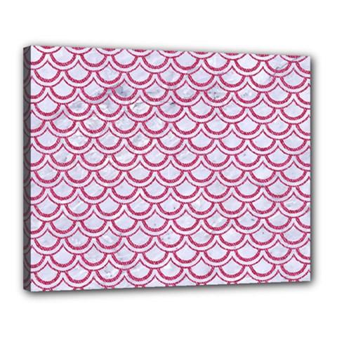 Scales2 White Marble & Pink Denim (r) Canvas 20  X 16