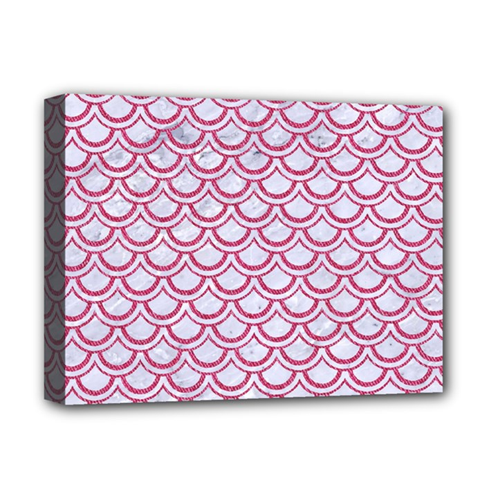 SCALES2 WHITE MARBLE & PINK DENIM (R) Deluxe Canvas 16  x 12