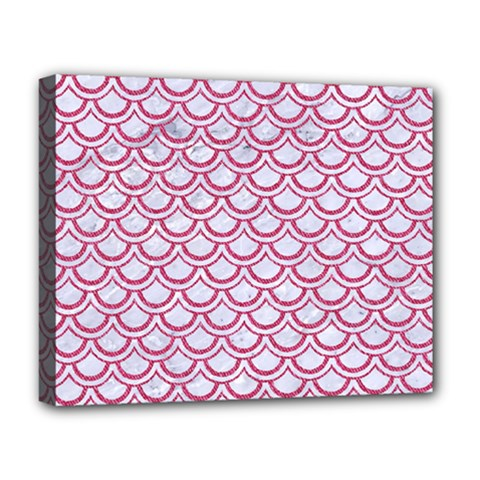 Scales2 White Marble & Pink Denim (r) Deluxe Canvas 20  X 16