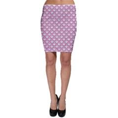 Scales2 White Marble & Pink Denim (r) Bodycon Skirt