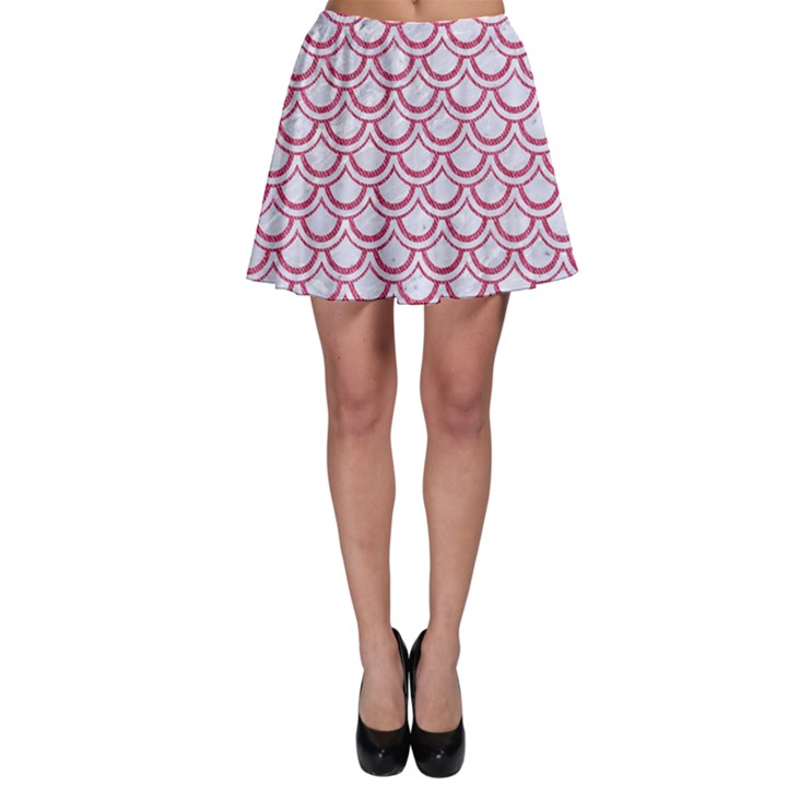 SCALES2 WHITE MARBLE & PINK DENIM (R) Skater Skirt