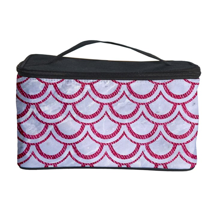 SCALES2 WHITE MARBLE & PINK DENIM (R) Cosmetic Storage Case