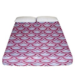 Scales2 White Marble & Pink Denim (r) Fitted Sheet (king Size)