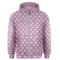 Scales2 White Marble & Pink Denim (r) Men s Zipper Hoodie