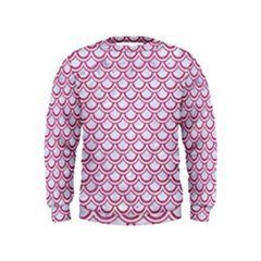 Scales2 White Marble & Pink Denim (r) Kids  Sweatshirt