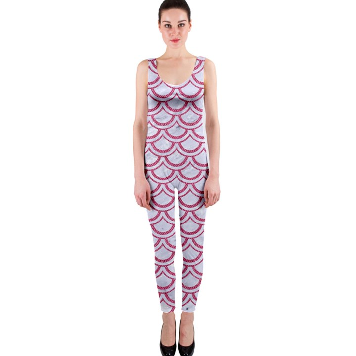 SCALES2 WHITE MARBLE & PINK DENIM (R) One Piece Catsuit