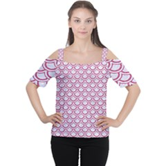 Scales2 White Marble & Pink Denim (r) Cutout Shoulder Tee