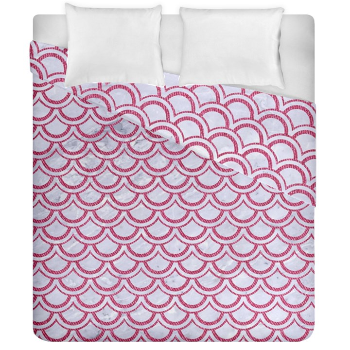SCALES2 WHITE MARBLE & PINK DENIM (R) Duvet Cover Double Side (California King Size)