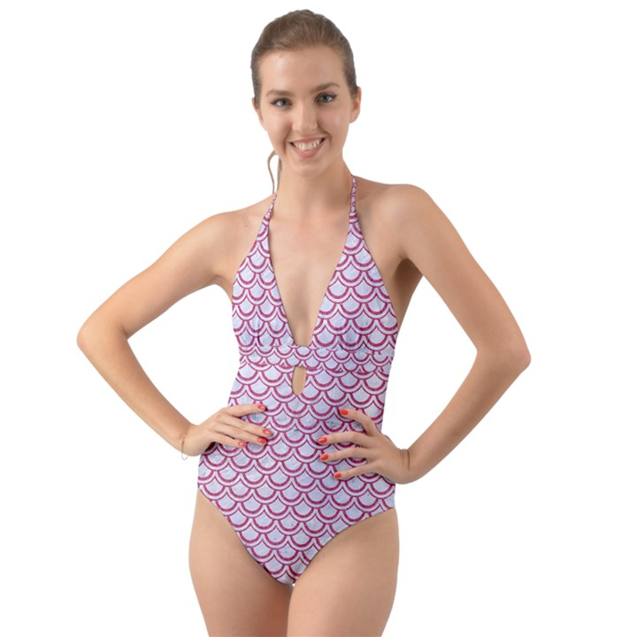 SCALES2 WHITE MARBLE & PINK DENIM (R) Halter Cut-Out One Piece Swimsuit