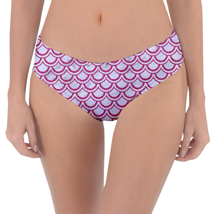 SCALES2 WHITE MARBLE & PINK DENIM (R) Reversible Classic Bikini Bottoms