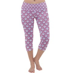 Scales2 White Marble & Pink Denim (r) Capri Yoga Leggings