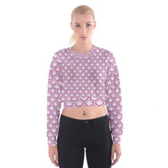 Scales2 White Marble & Pink Denim (r) Cropped Sweatshirt