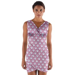 Scales2 White Marble & Pink Denim (r) Wrap Front Bodycon Dress
