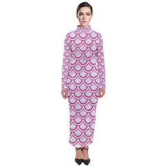 Scales2 White Marble & Pink Denim (r) Turtleneck Maxi Dress