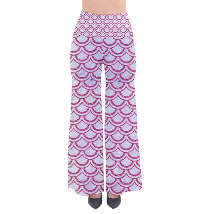 SCALES2 WHITE MARBLE & PINK DENIM (R) So Vintage Palazzo Pants