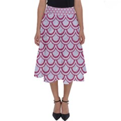 Scales2 White Marble & Pink Denim (r) Perfect Length Midi Skirt
