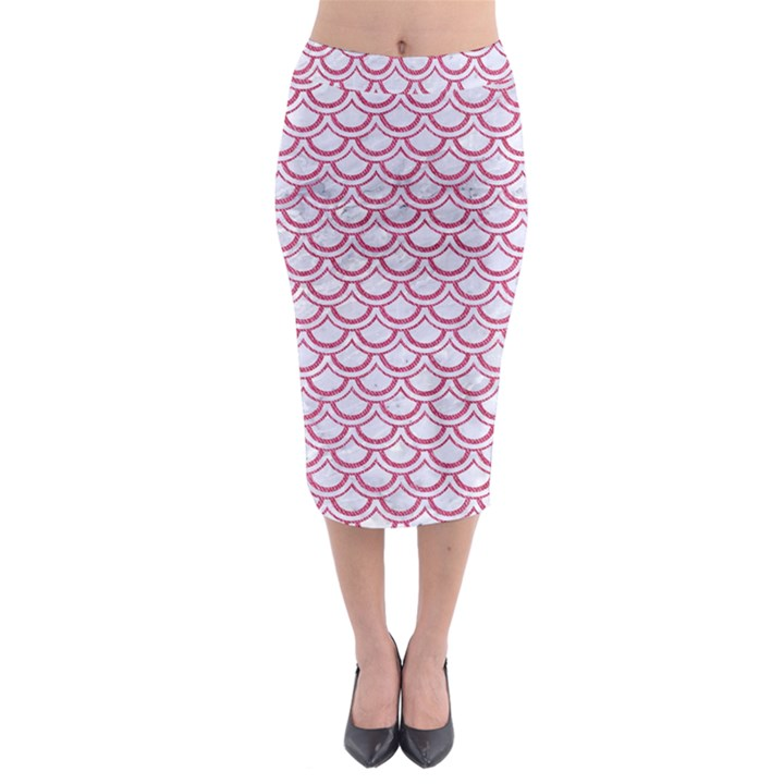 SCALES2 WHITE MARBLE & PINK DENIM (R) Midi Pencil Skirt