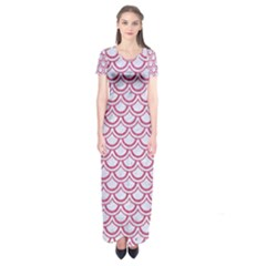 Scales2 White Marble & Pink Denim (r) Short Sleeve Maxi Dress