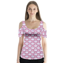 Scales2 White Marble & Pink Denim (r) Butterfly Sleeve Cutout Tee