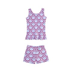 Scales2 White Marble & Pink Denim (r) Kid s Boyleg Swimsuit