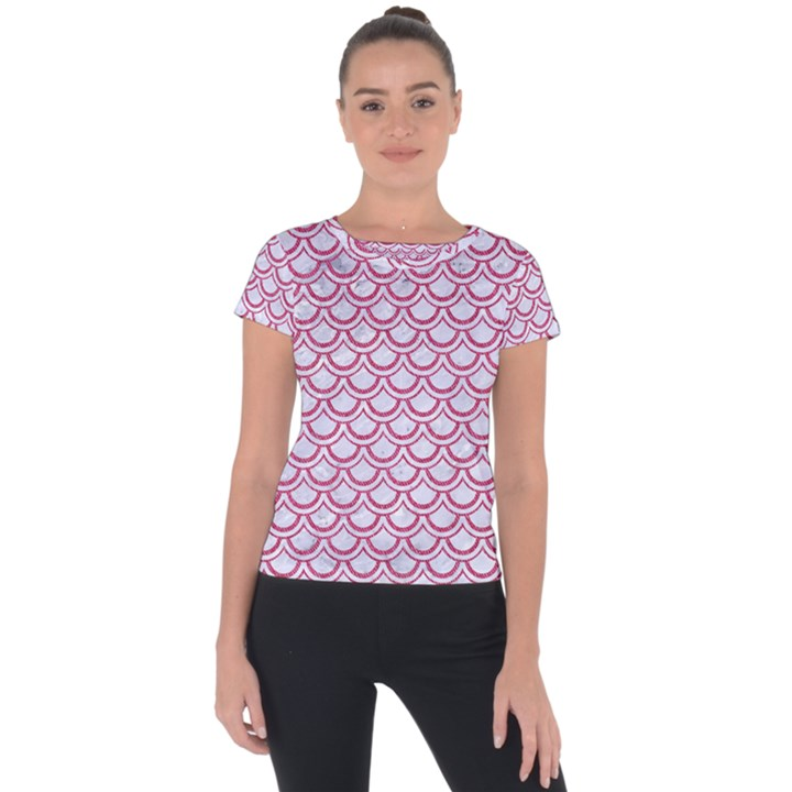 SCALES2 WHITE MARBLE & PINK DENIM (R) Short Sleeve Sports Top