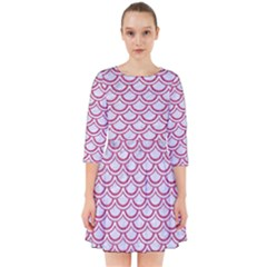 Scales2 White Marble & Pink Denim (r) Smock Dress