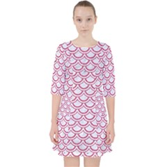 Scales2 White Marble & Pink Denim (r) Pocket Dress