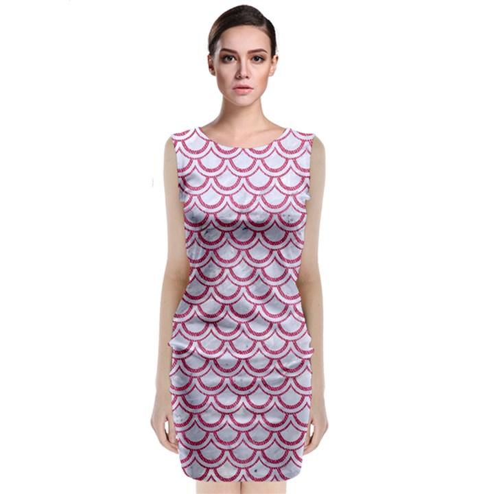 SCALES2 WHITE MARBLE & PINK DENIM (R) Sleeveless Velvet Midi Dress