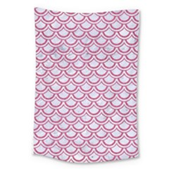 Scales2 White Marble & Pink Denim (r) Large Tapestry by trendistuff