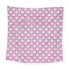 Scales2 White Marble & Pink Denim (r) Square Tapestry (large)