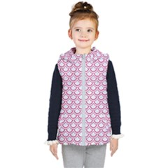 Scales2 White Marble & Pink Denim (r) Kid s Hooded Puffer Vest