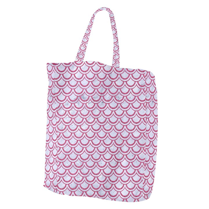 SCALES2 WHITE MARBLE & PINK DENIM (R) Giant Grocery Zipper Tote