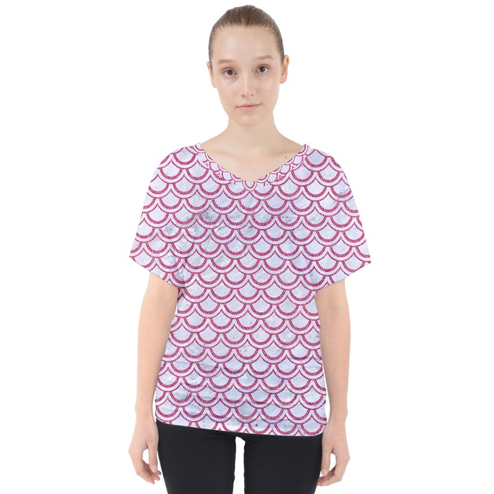 SCALES2 WHITE MARBLE & PINK DENIM (R) V-Neck Dolman Drape Top