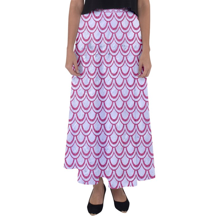 SCALES2 WHITE MARBLE & PINK DENIM (R) Flared Maxi Skirt