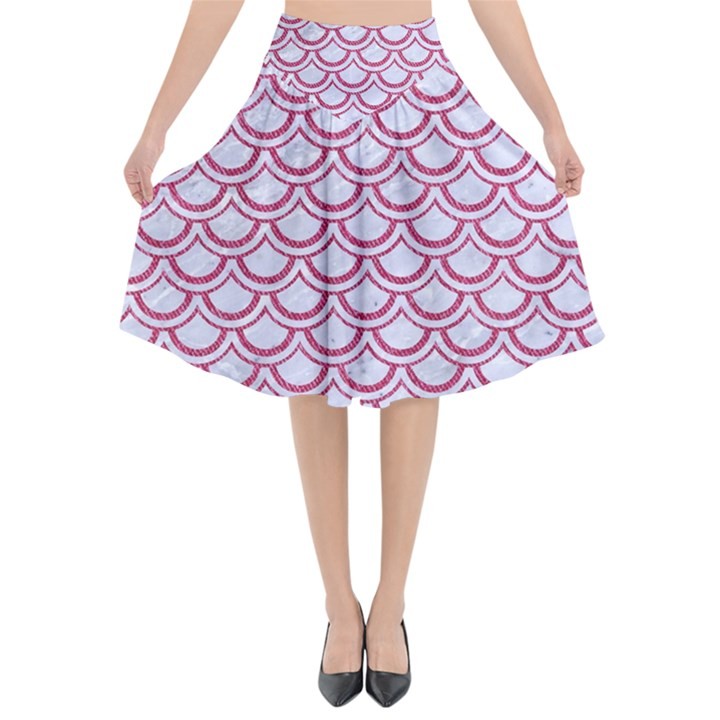 SCALES2 WHITE MARBLE & PINK DENIM (R) Flared Midi Skirt