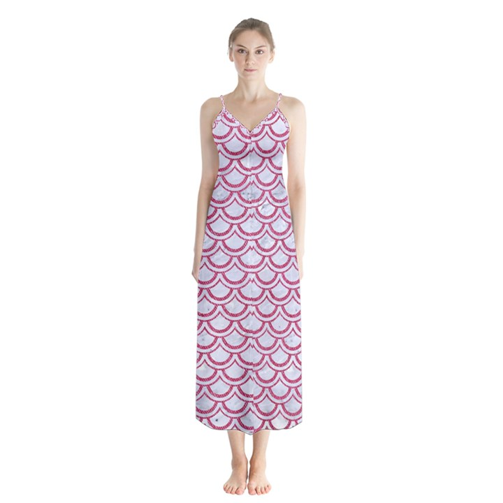 SCALES2 WHITE MARBLE & PINK DENIM (R) Button Up Chiffon Maxi Dress