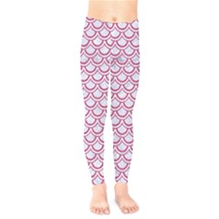 Scales2 White Marble & Pink Denim (r) Kids  Legging